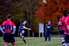 19/11/2016. Guildford City Rugby Club V Westcombe Park Rugby Club. Rory ANDREWS kicks penalty