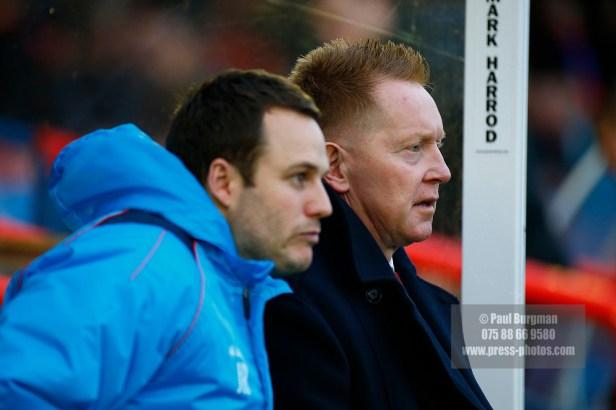 07/01/2017. Aldershot Town v Southport FC Assistant Manager James ROWE & Manager Gary WADDOCK