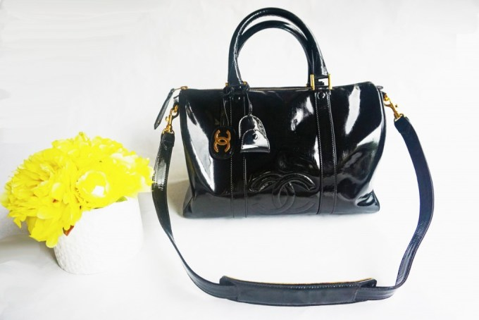 Vintage Patent Leather Chanel Handbag fRONT