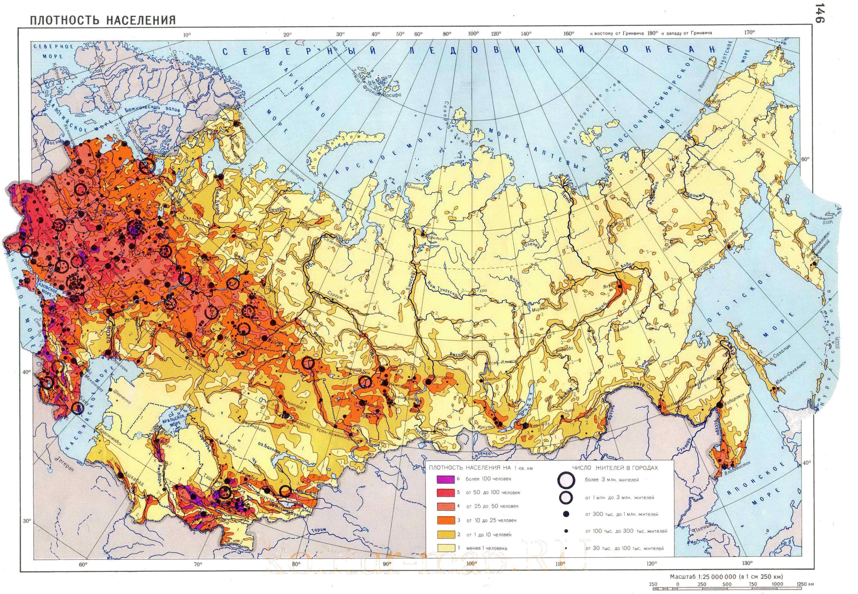 Russia Map Population Density