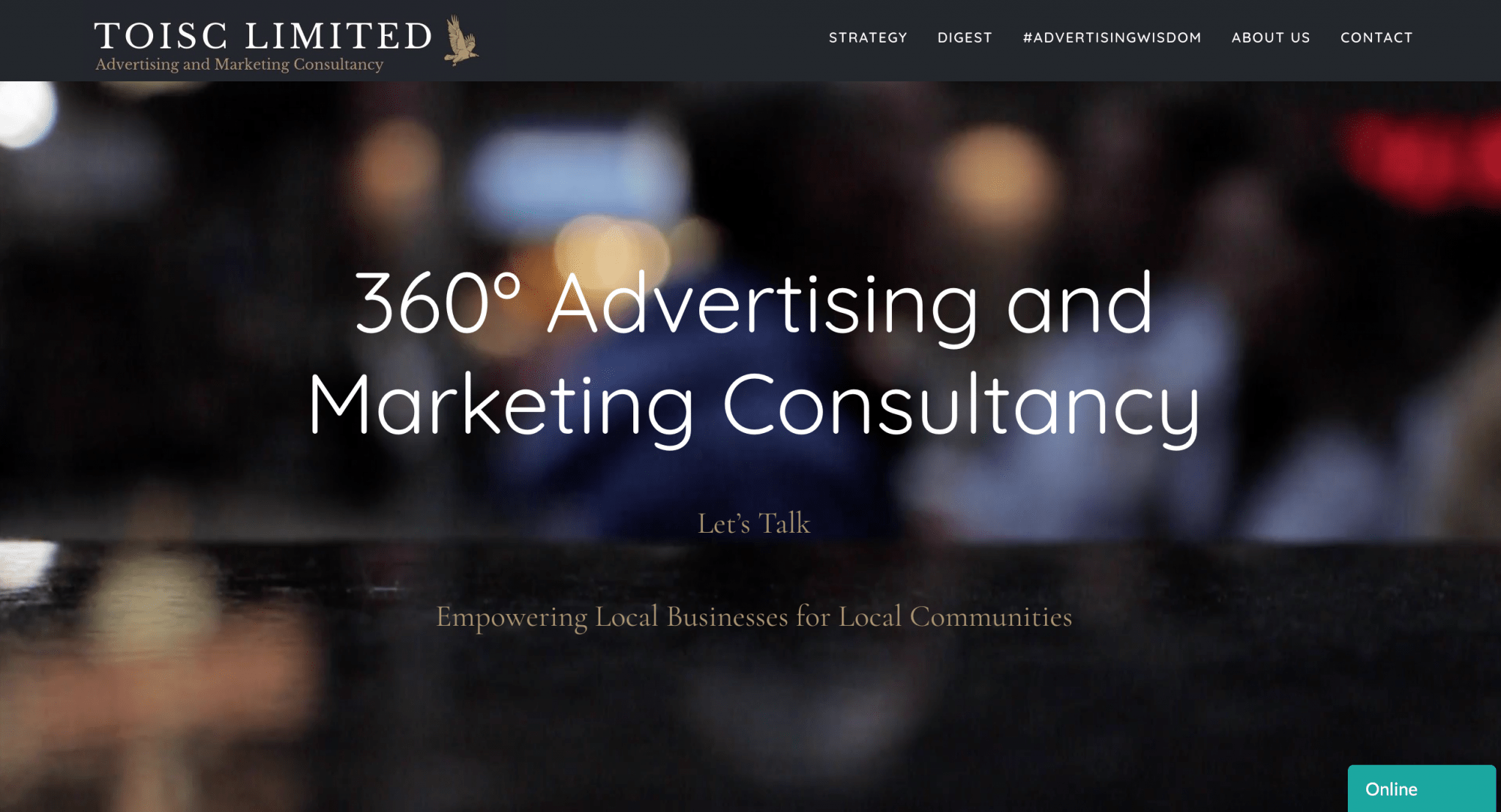 Above the Fold, Welcome, Website Design, Themes, Toisc Limited, Full Screen View