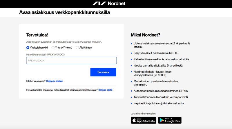 Liittyminen Nordnet-palveluun