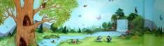 Ζωάκια του δάσους σε παιδική τοιχογραφία