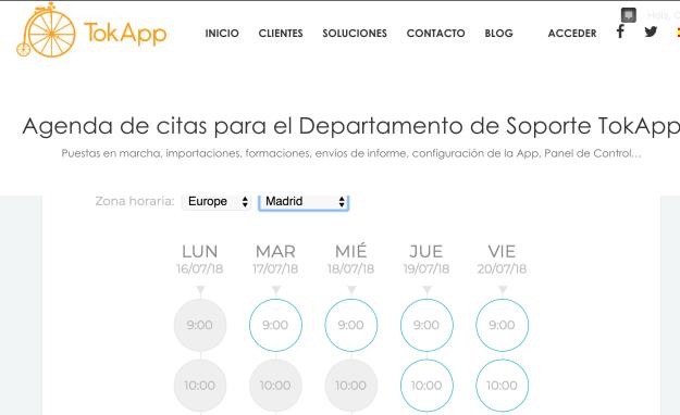 solicitar cita tokapp soporte