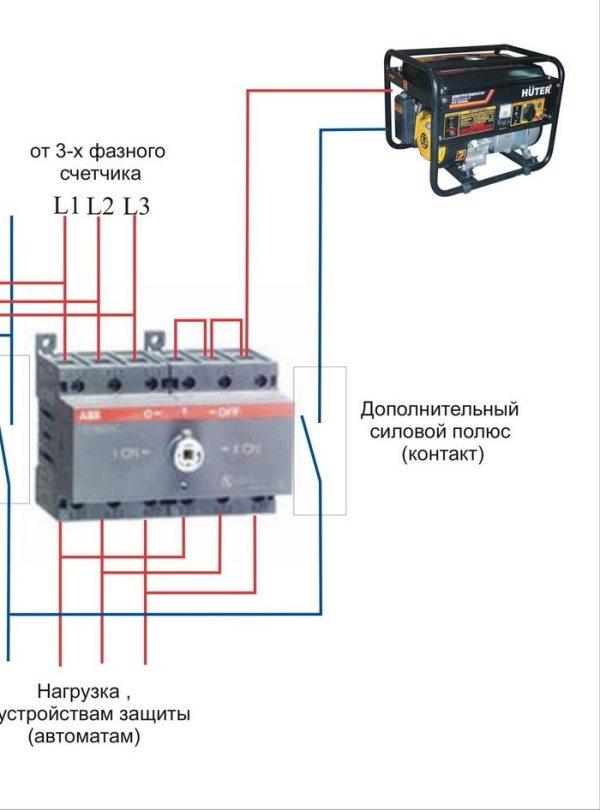 Перекидные рубильники для генераторов: схемы подключения ...