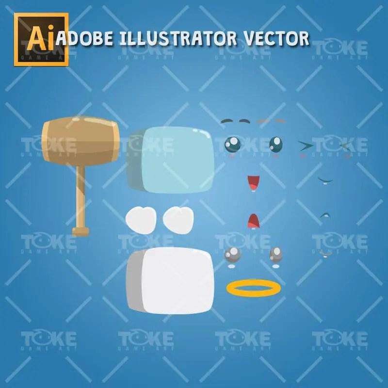 Boky The Cute Cube - Adobe Illustrator Vector Art Based