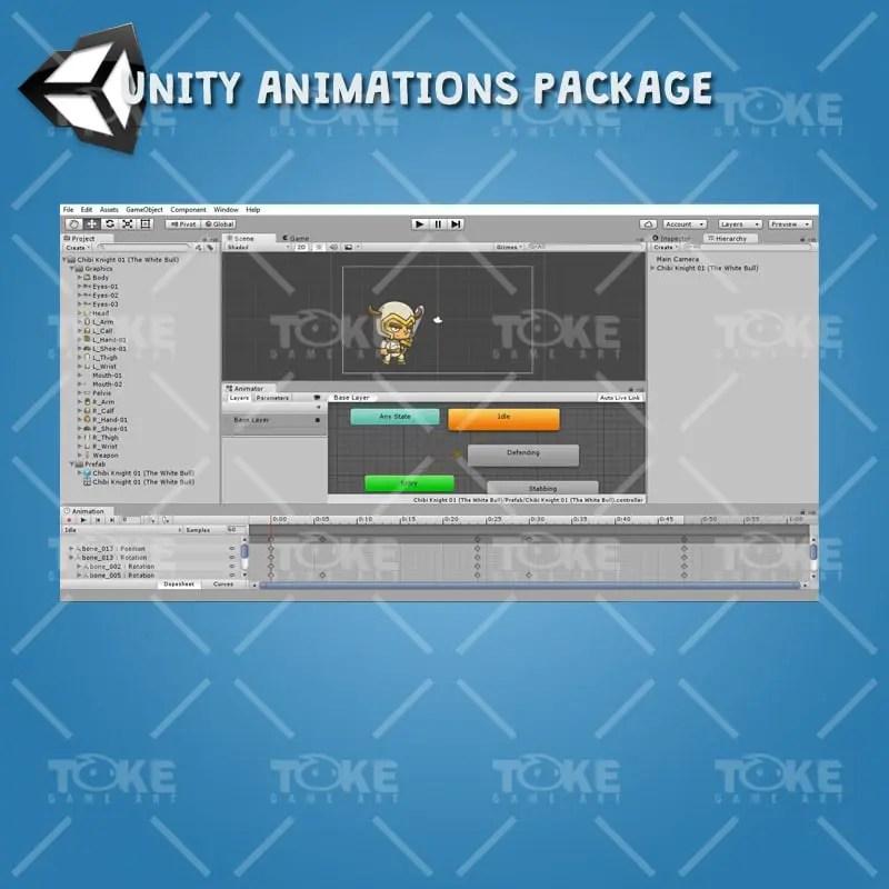 Chibi Knight The White Bull - Unity Animation Ready