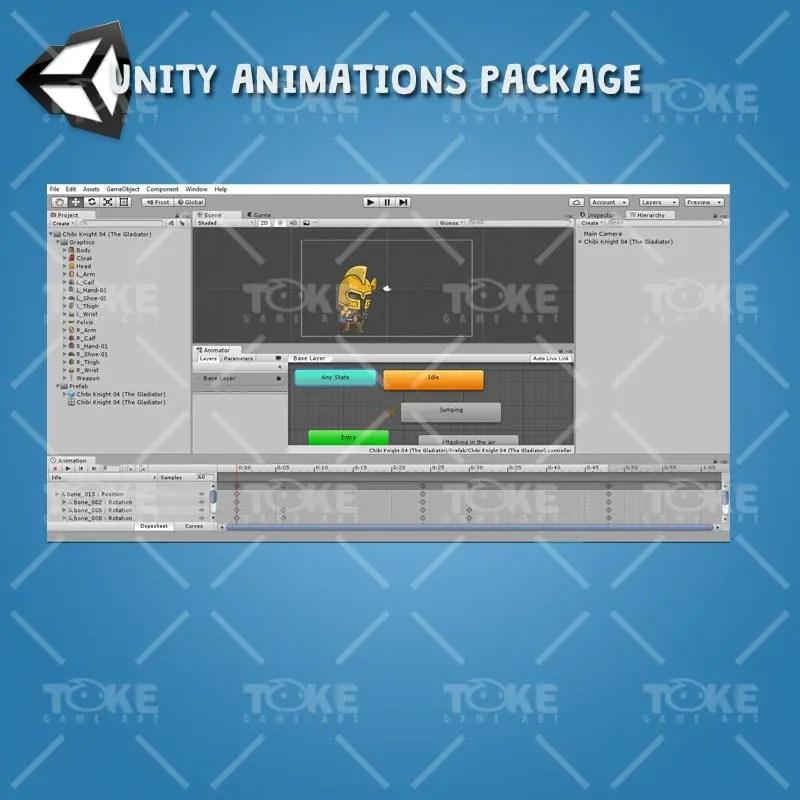 Chibi Knight Gladiator - Unity Animation Ready