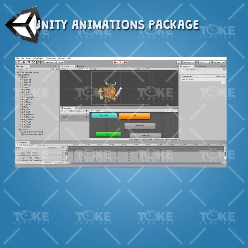 Chibi Muscular Viking - Unity Animation Ready