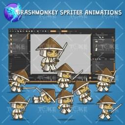 Chibi Samurai Conical Hat - Brashmonkey Spriter Animation