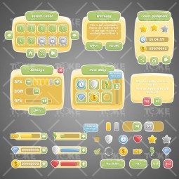 Classic Game UI – Adobe Illustrator Vector Based Game GUI