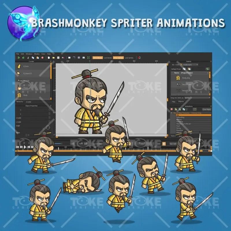 Micro Style Character Chinese King - Brashmonkey Spriter Animation
