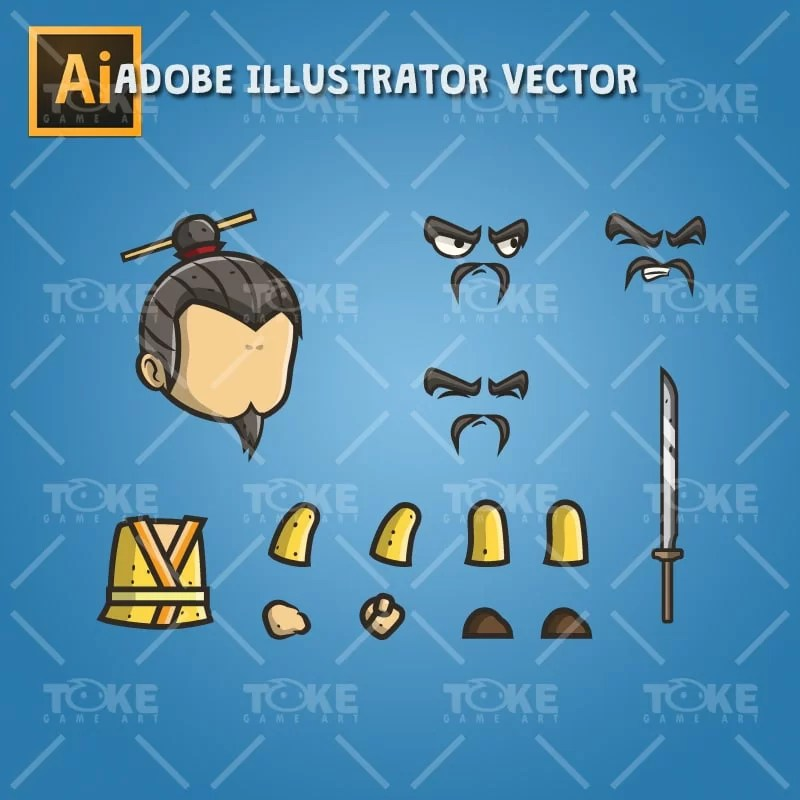 Micro Style Character Chinese King - Adobe Illustrator Vector Art Based