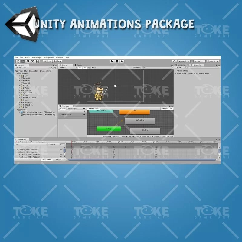 Micro Style Character Chinese King - Unity Animation Ready