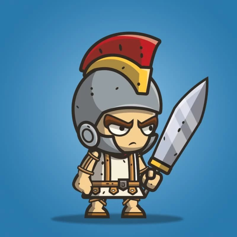 Micro Style Character Roman Knight - 2D Character Sprite