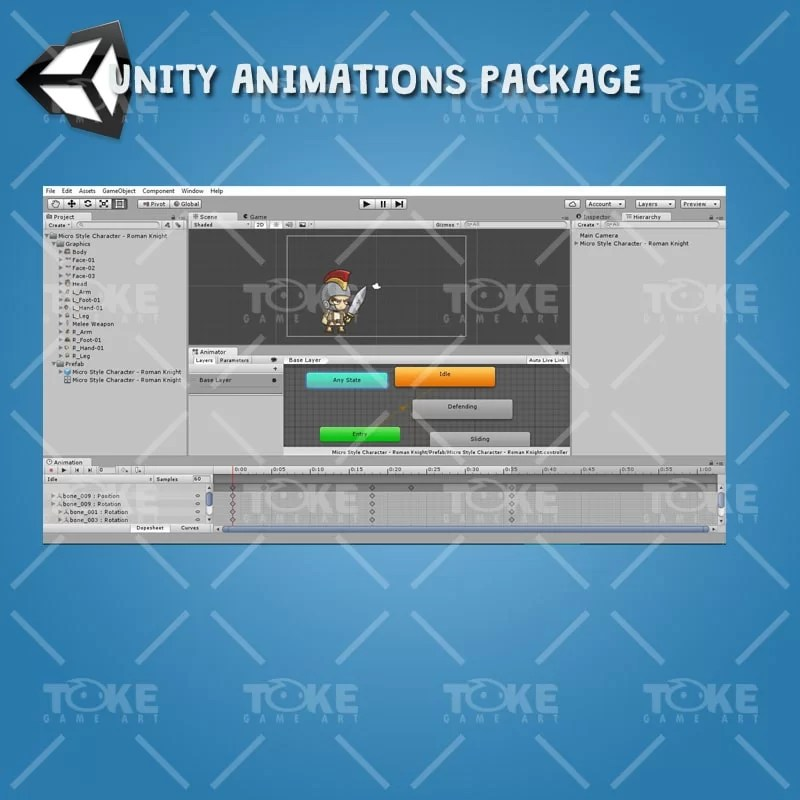 Micro Style Character Roman Knight - Unity Animation Ready
