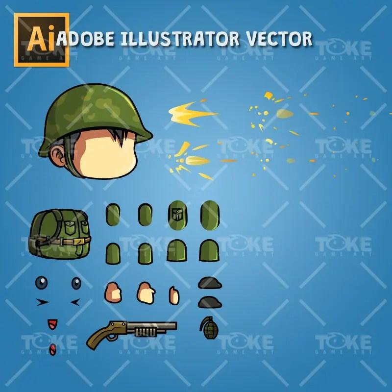 Tiny Chinese Soldier – Adobe Illustrator Vector Art Based
