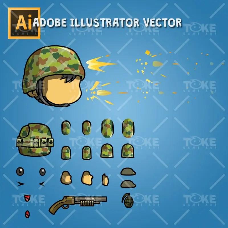 Tiny Australian Soldier - Adobe Illustrator Vector Art Based