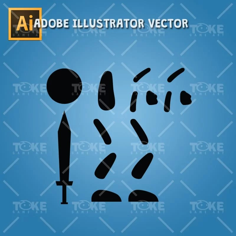 Stick Swordman - Adobe Illustrator Vector Art Based