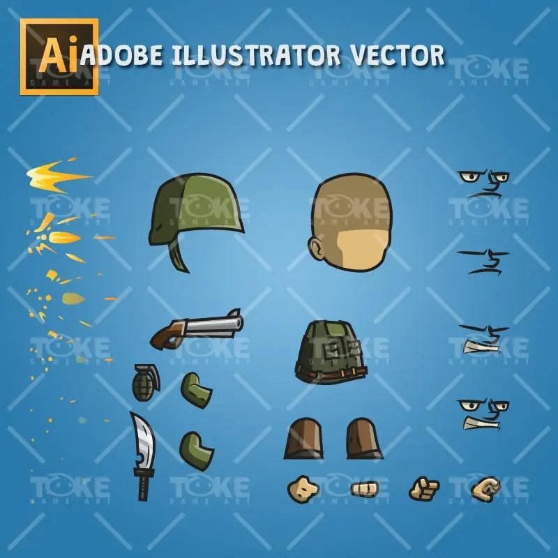 Tiny Army Sam - Adobe Illustrator Vector Art Based