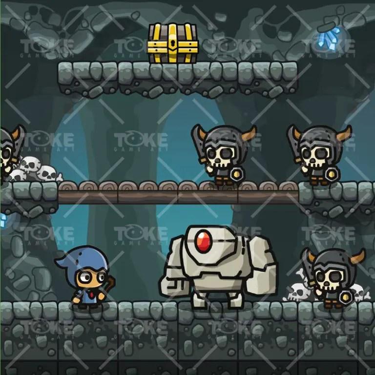 Cartoon Cave Platformer Tileset - Game Preview 03