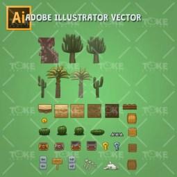 Cartoon Desesrt Tileset - Adobe Illustrator Vector Art Based - Game Environment