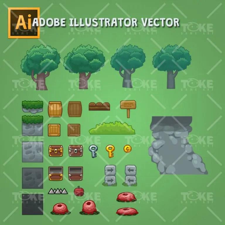 Cartoon Style Forest Platformer Tileset - Adobe Illustrator Vector Art Based