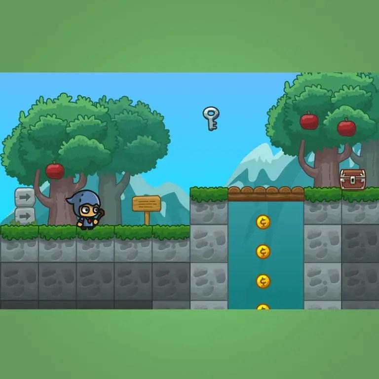Cartoon Forest Platformer Tileset - 2D Game Platformer