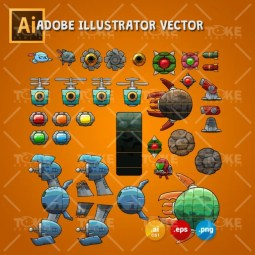 Scrolling Shooter Game Asset - 2D Game Kit
