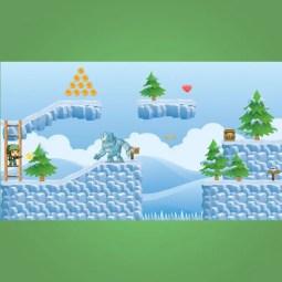 Snowy Game Tileset - 2D Game Platformer