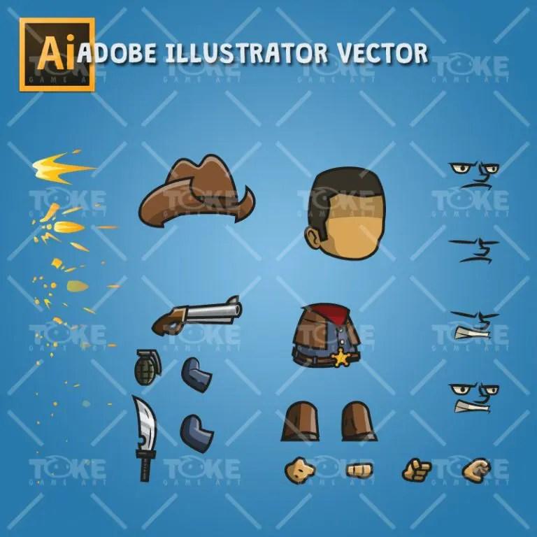 Tiny Cowboy - Adobe Illustrator Vector Art Based