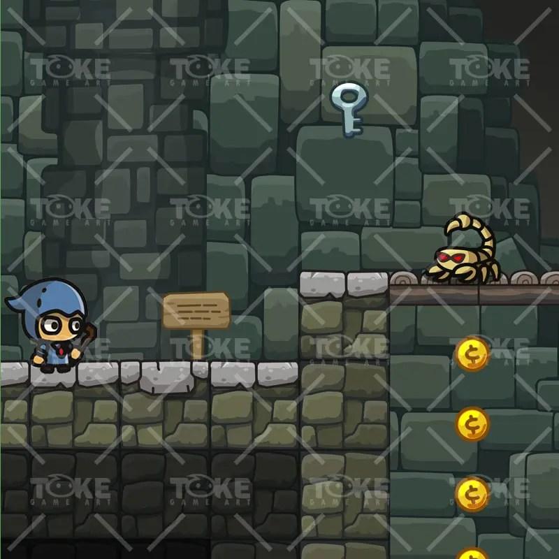 Cartoon Dungeon Platformer Tileset - Game Preview 01