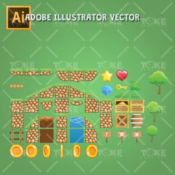 Tropic Island Tileset - Adobe Illustrator Vector Art Based
