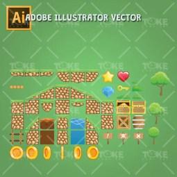 Tropic Island Tileset - Adobe Illustrator Vector Art Based