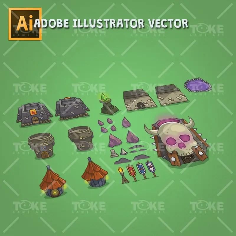 Dungeon Top-Down Game Platfromer - Adobe Illustrator Vector Art Based - Environment