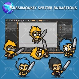 Warrior Tiny Style Character - Brashmonkey Spriter Animation