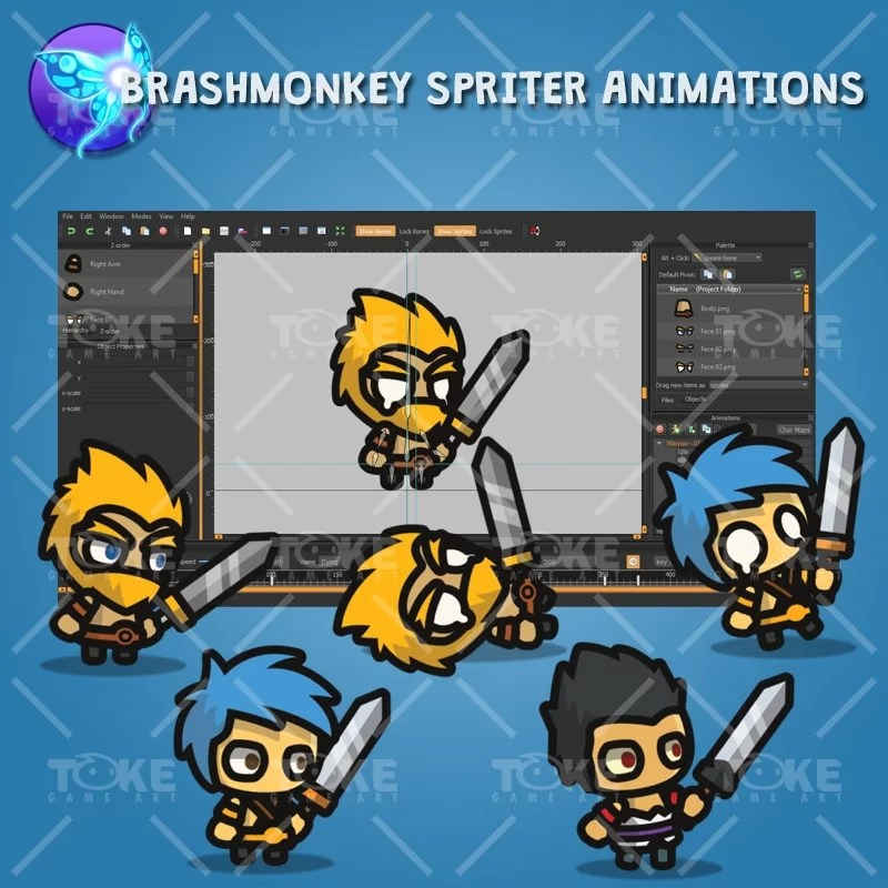 Warrior Tiny Style Character - Brashmonkey Spriter Animation