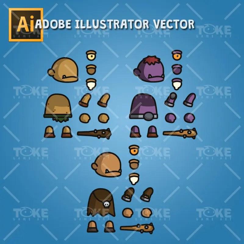 Cyclop Tiny Style Character - Adobe Illustrator Vector Art Baased