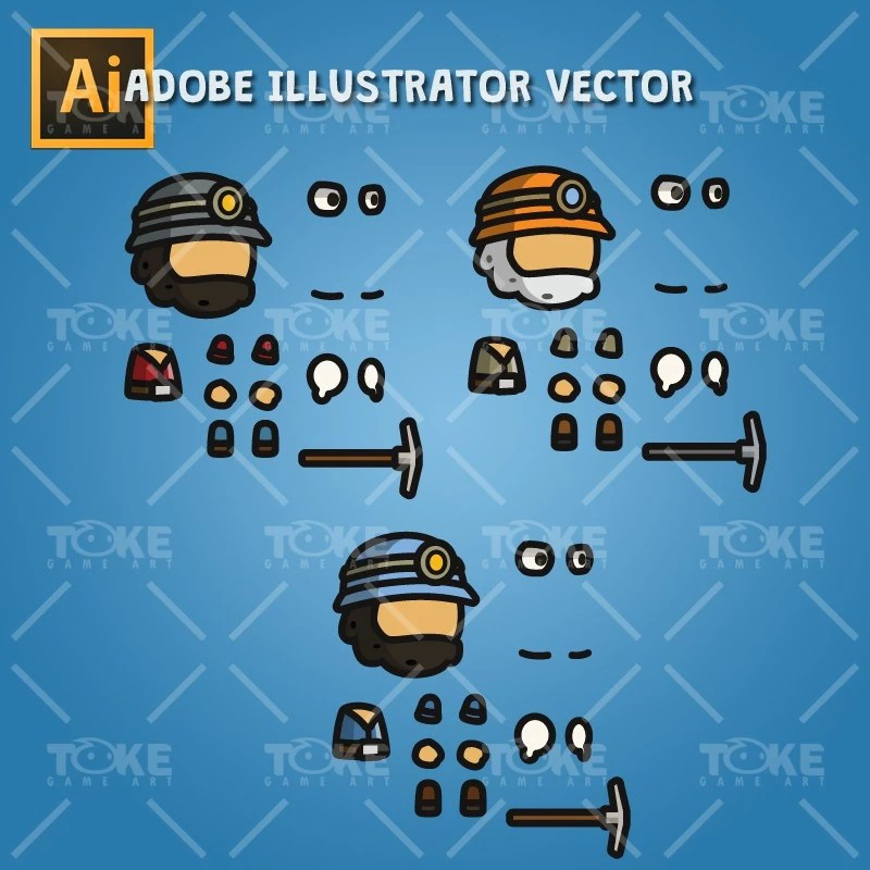 Gold Miner Tiny Style Character - Adobe Illustrator Vector Art Based