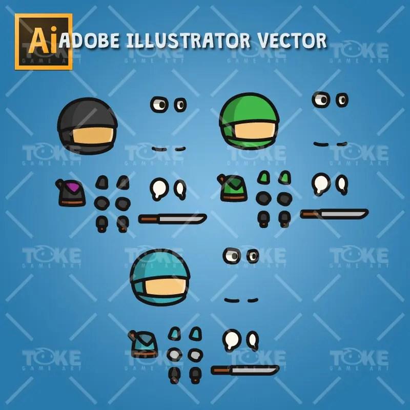 Ninja Tiny Style Character - Adobe Illustrator Vector Art Based