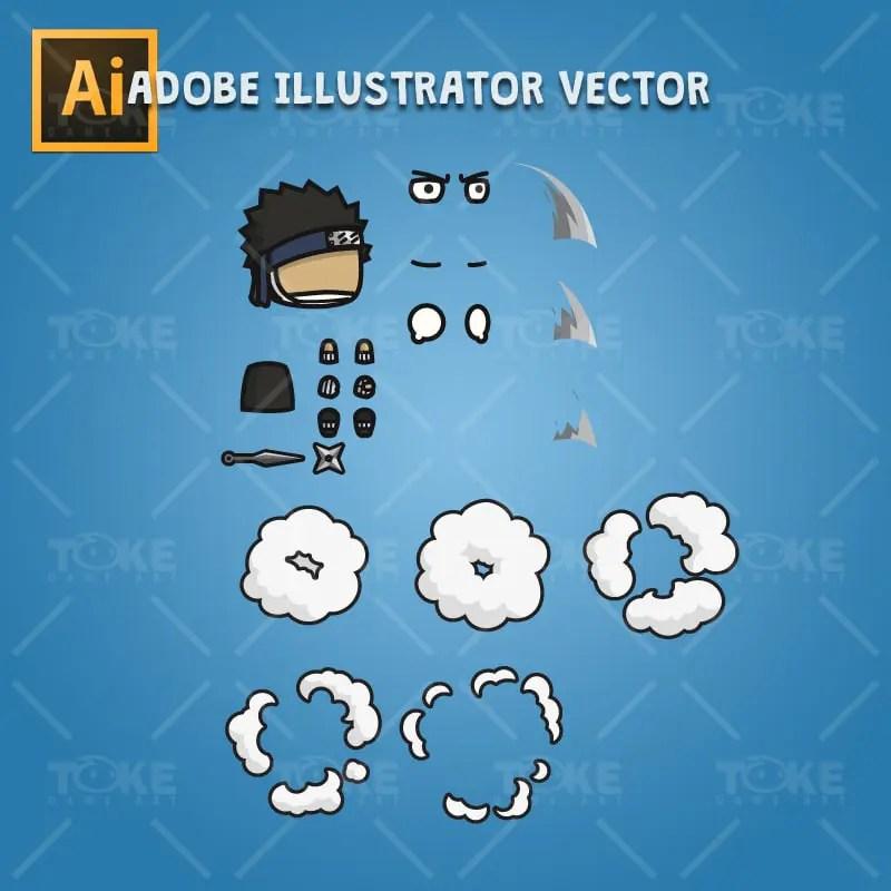 Shinobi 05 - Zabuza - Evil Masked Shinobi - Adobe Illustrator Vector Art Based