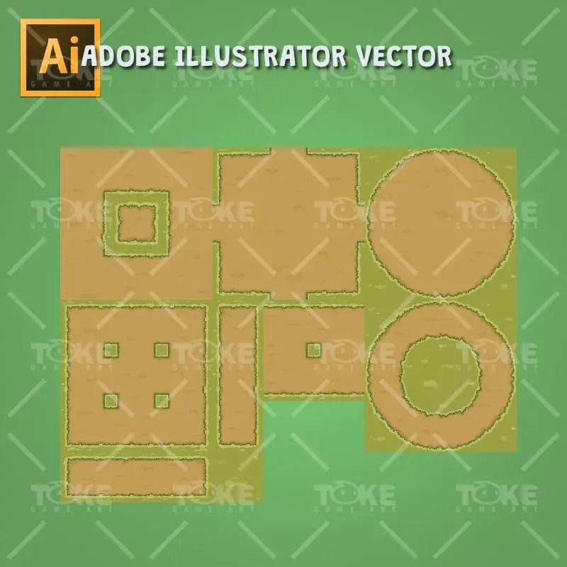 Old Abandoned Farm - Ground Tiles - Adobe Illustrator Vector Art Based