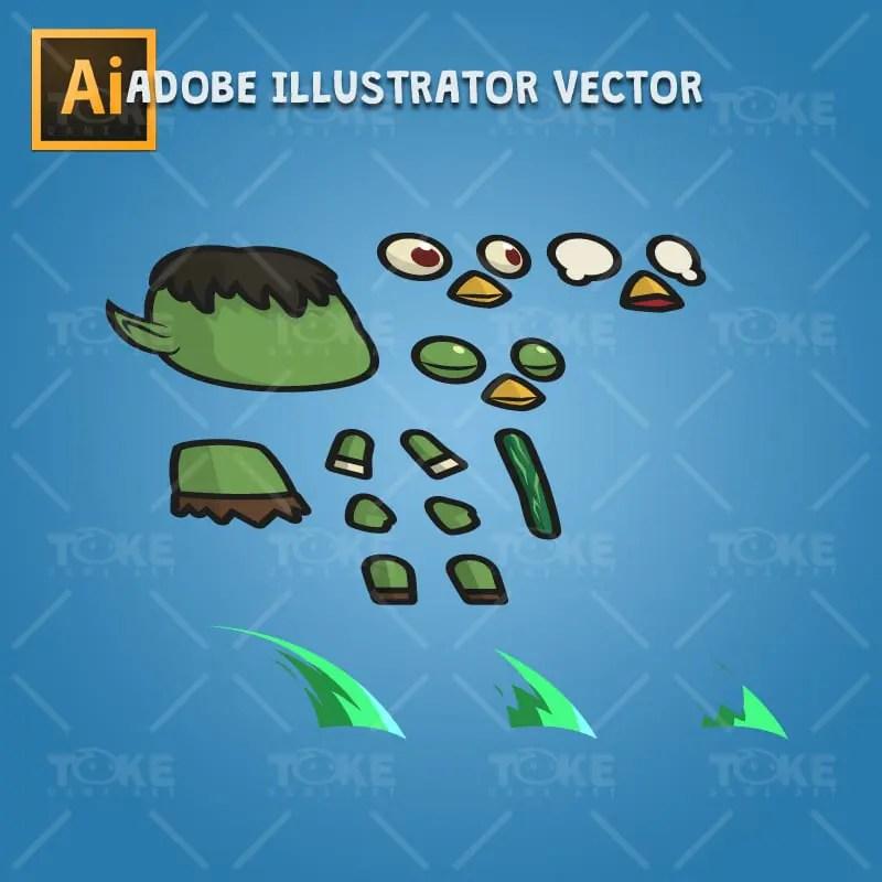 Tiny Kappa - Adobe Illustrator Vector Art Baassed