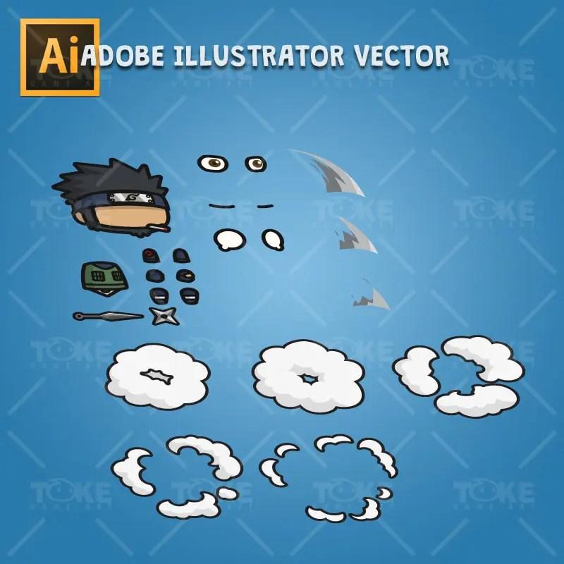 Bearded Shinobi Guy - Adobe Illustrator Vector Art Based