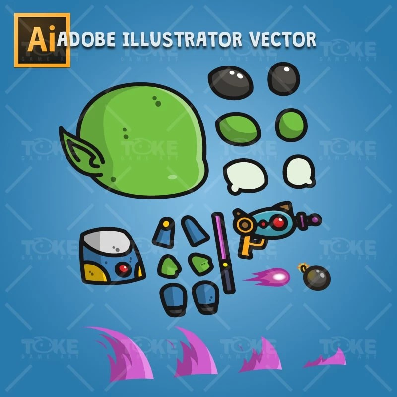 Good Alien - Adobe Illustrator Vector Art Based