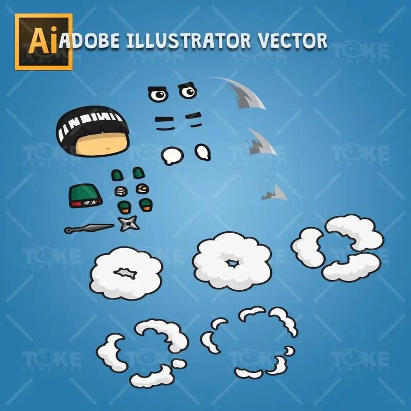 Bangs Hair Shinobi - Adobe Illustrator Vector Art Based