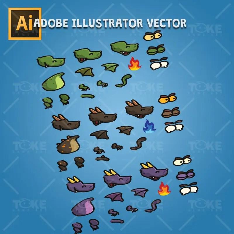 Cartoon Dragon - Adobe Illustrator Vector Art Based