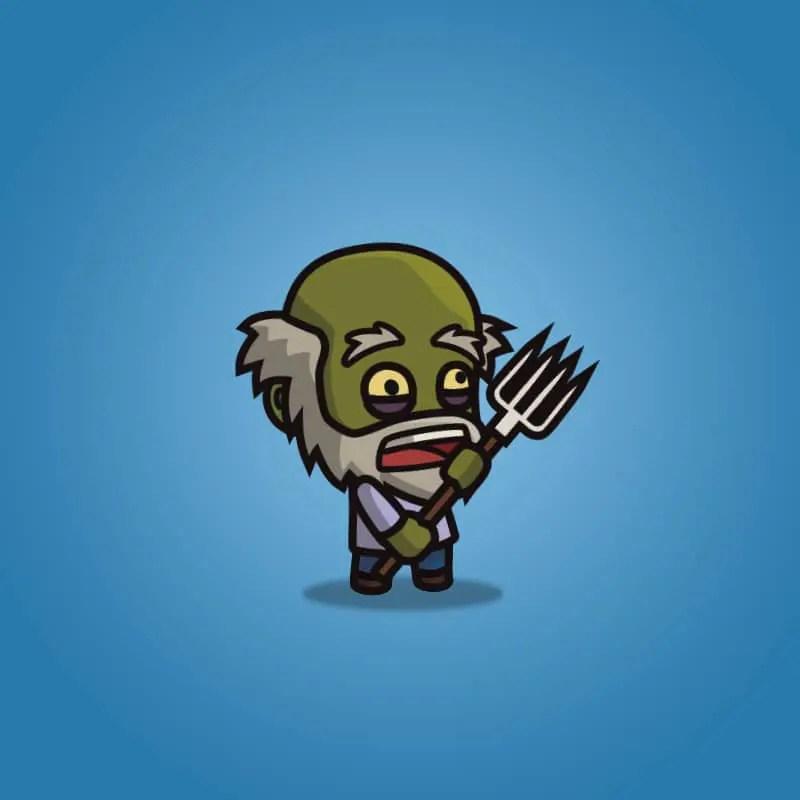 Cartoon Old Farmer Zombie