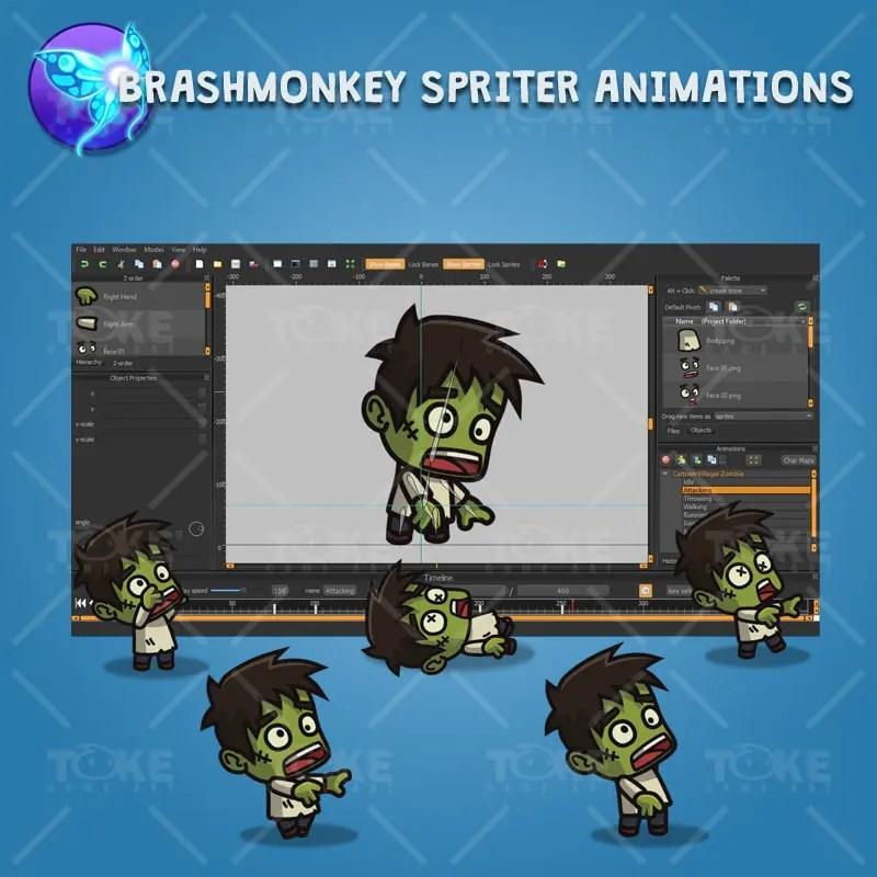 Cartoon Villager Zombie - Brashmonkey Spriter Animation