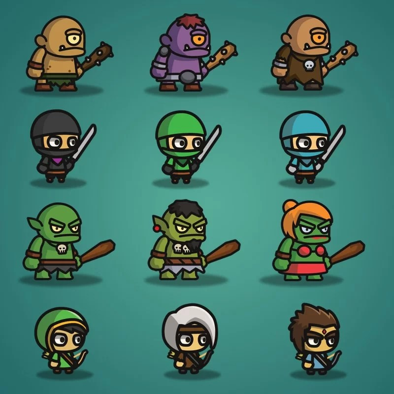 Super Tiny Bundle - 2D Character Sprite - Cyclop - Ninja - Ogre - Archer